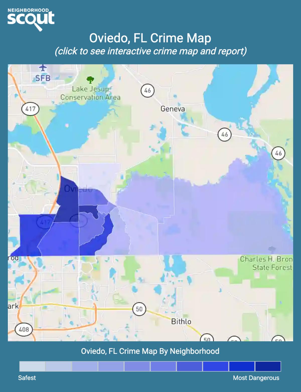 Oviedo, Florida crime map