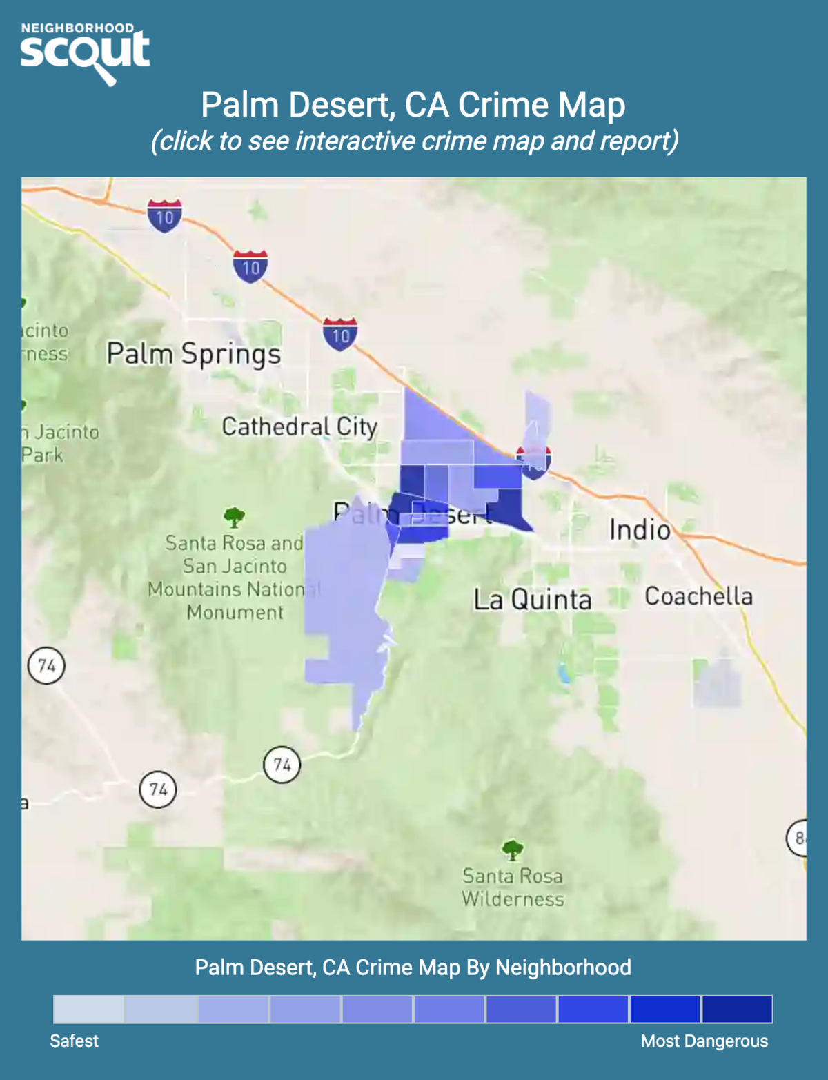 Palm Desert, California crime map