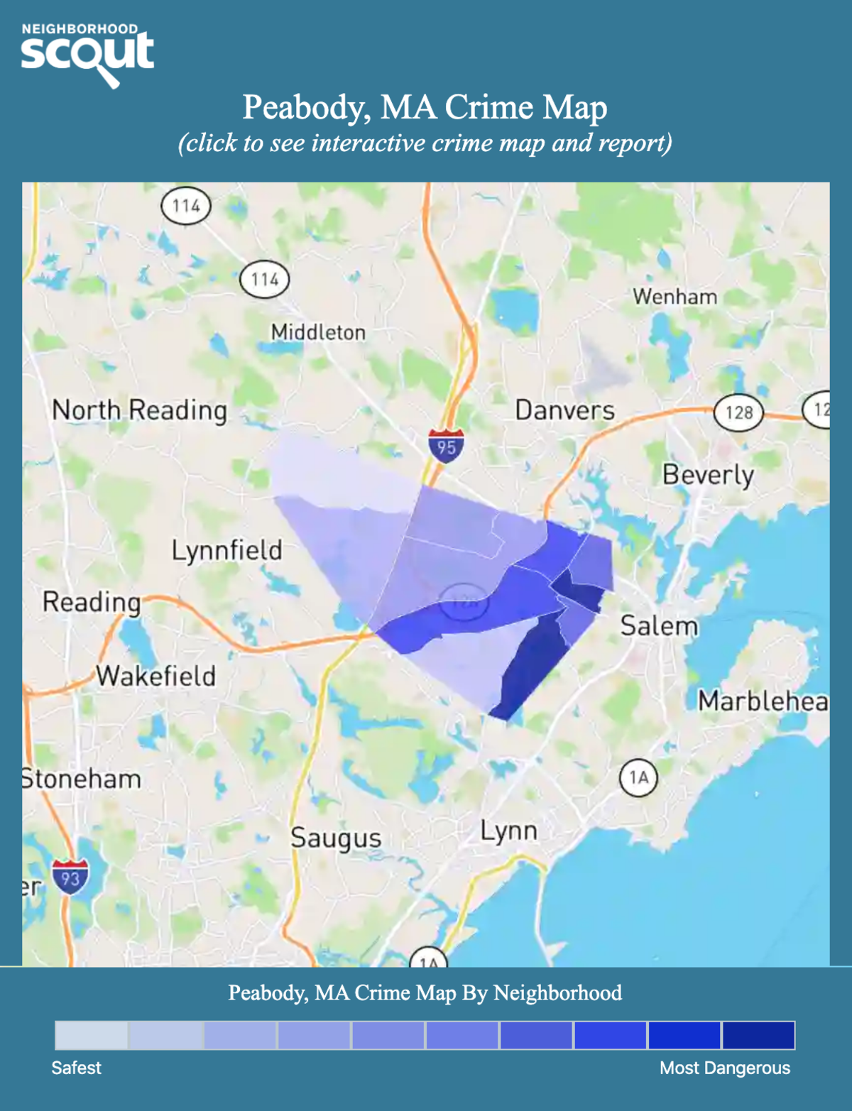 Peabody, Massachusetts crime map