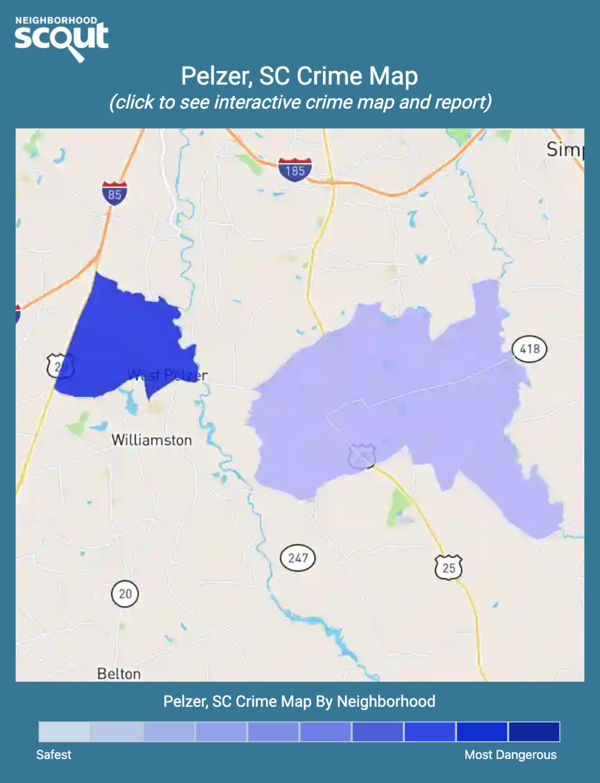 Pelzer, South Carolina crime map