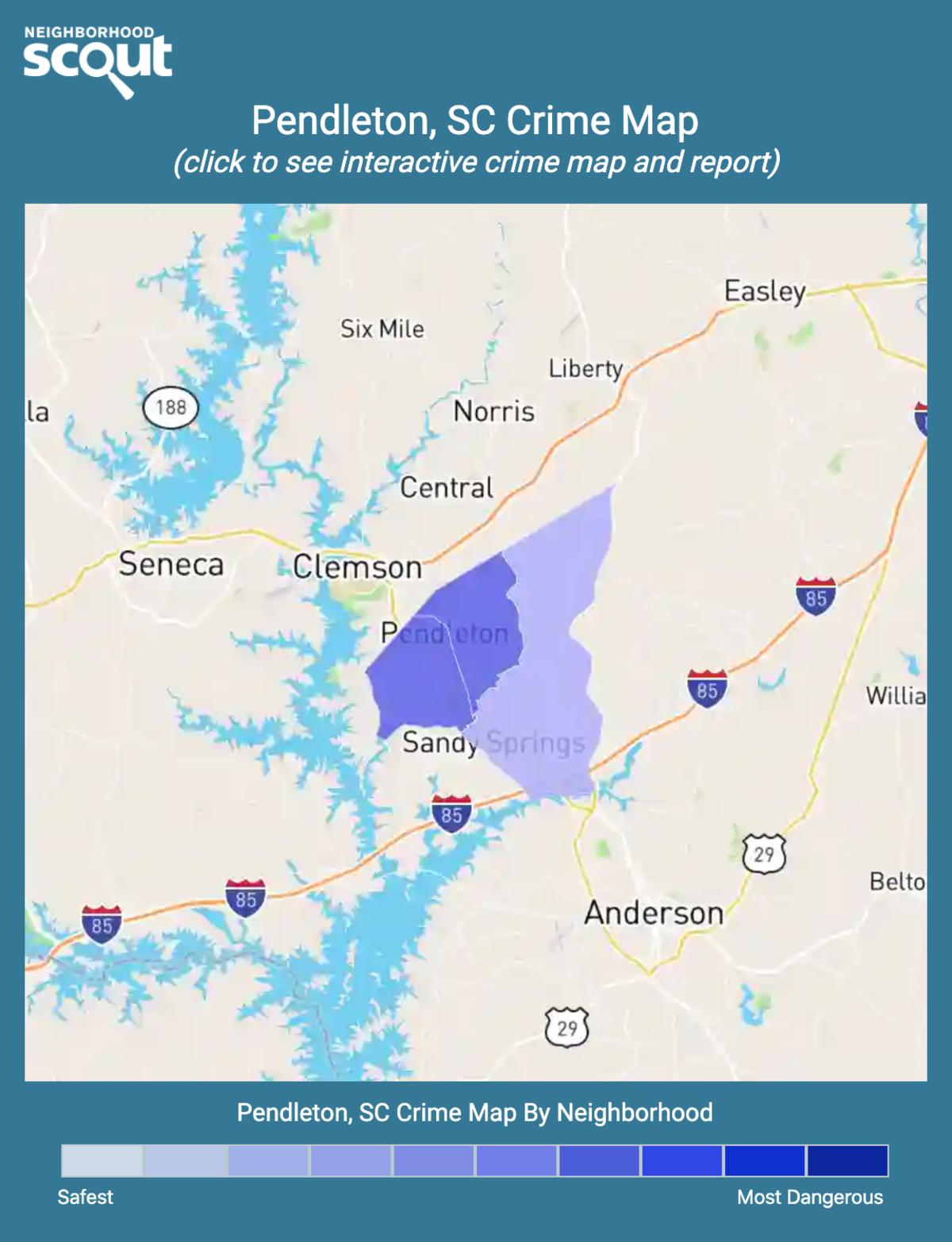 Pendleton, South Carolina crime map