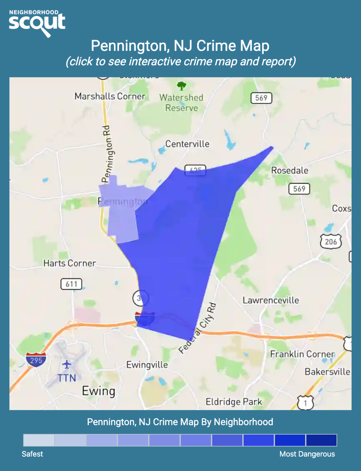 Pennington, New Jersey crime map