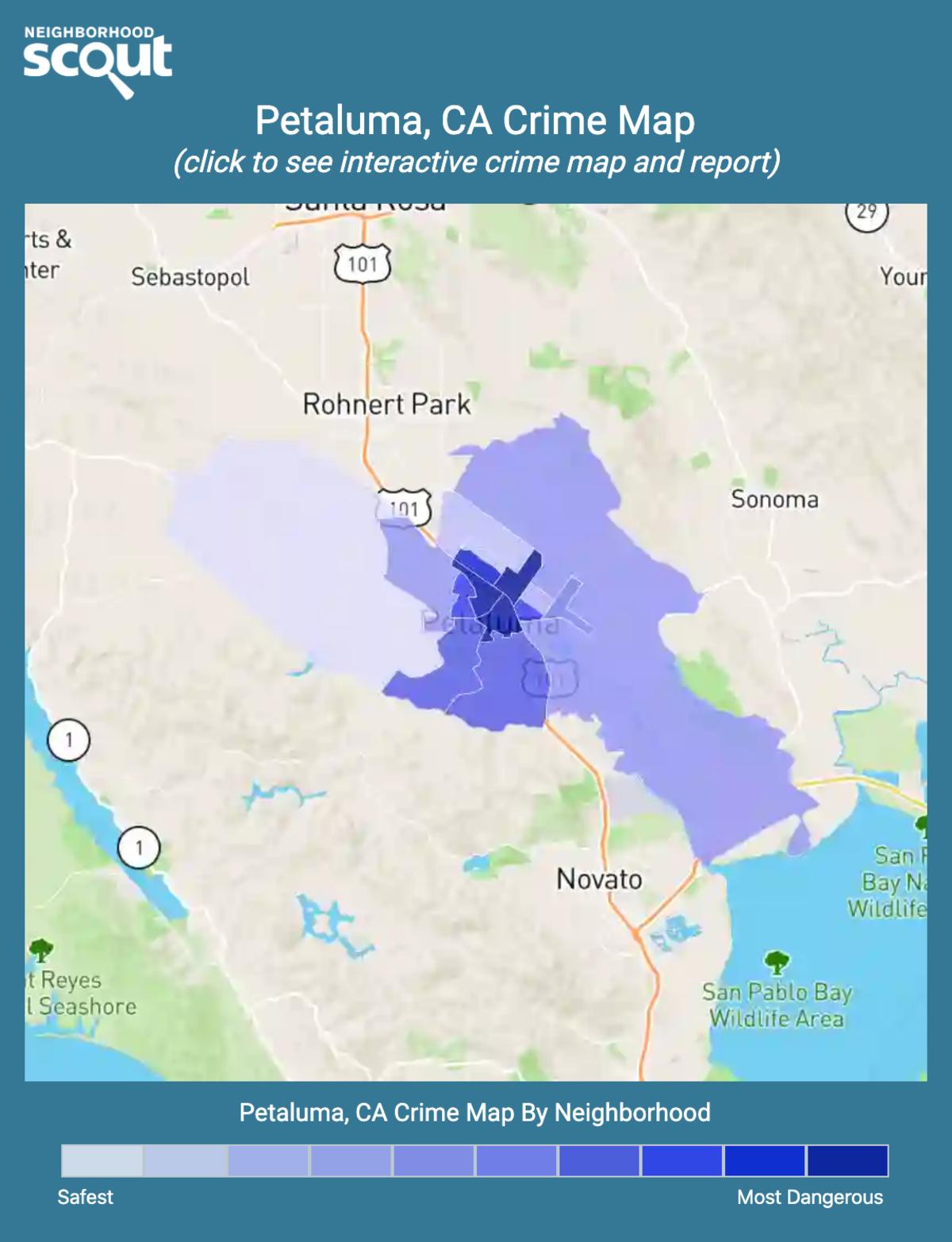 Petaluma, California crime map