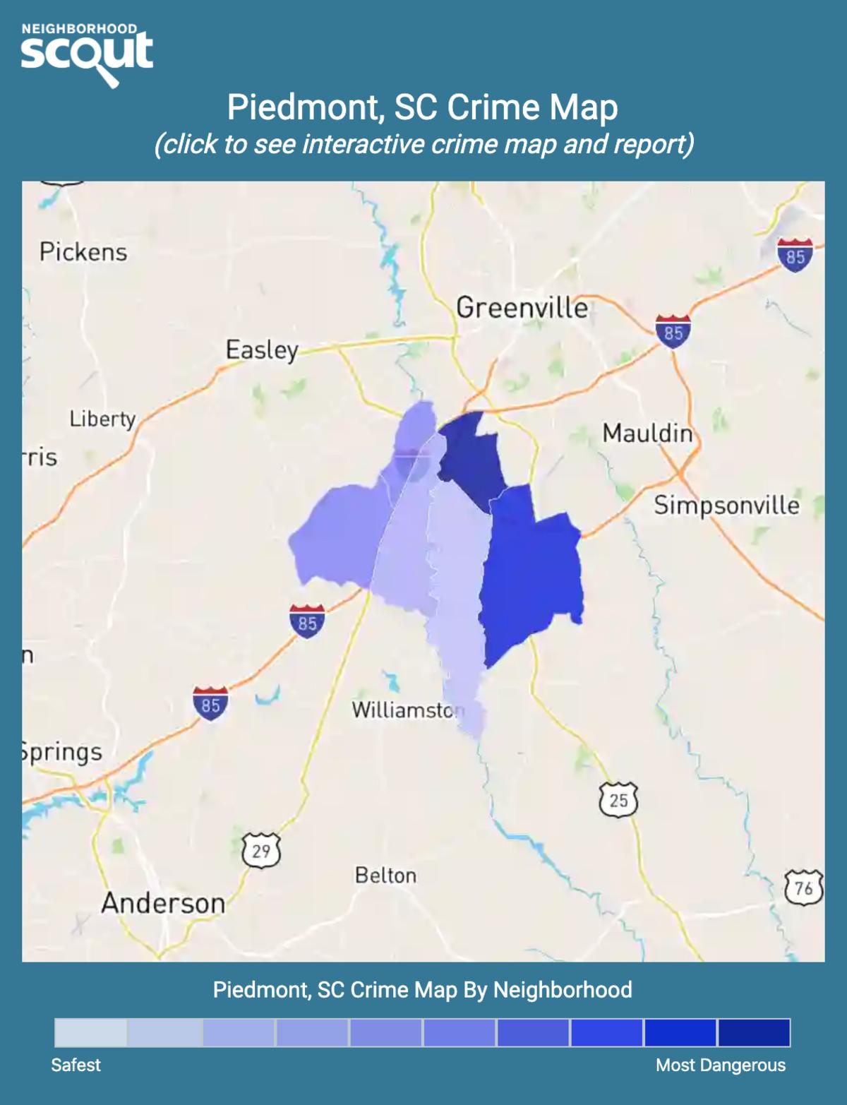 Piedmont, South Carolina crime map