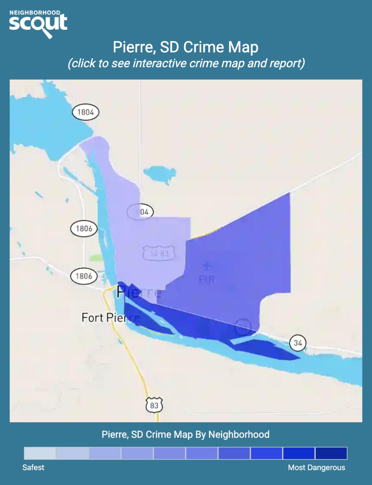 Pierre, South Dakota crime map