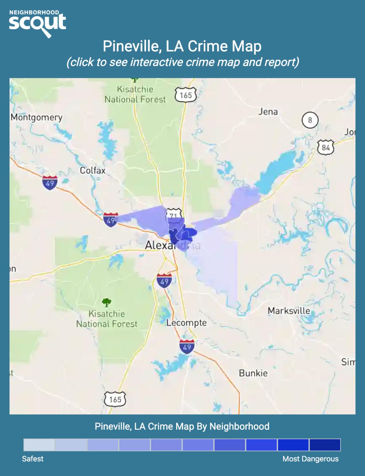 Pineville, Louisiana crime map