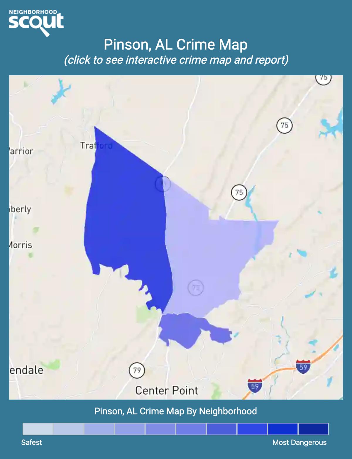 Pinson, Alabama crime map