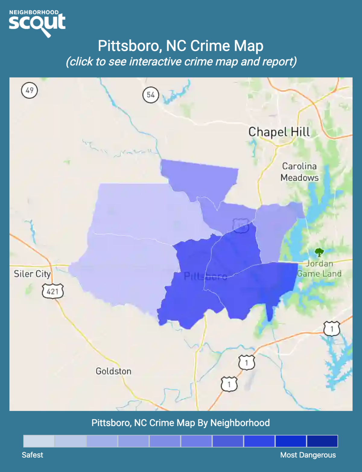 Pittsboro, North Carolina crime map