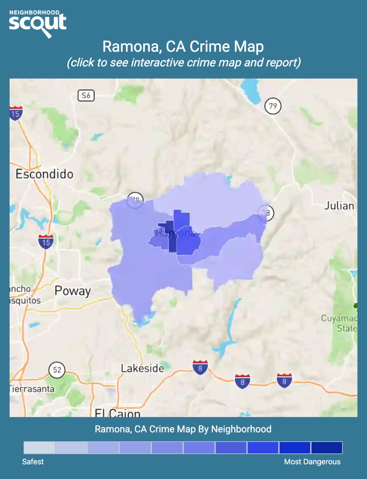 Ramona, California crime map