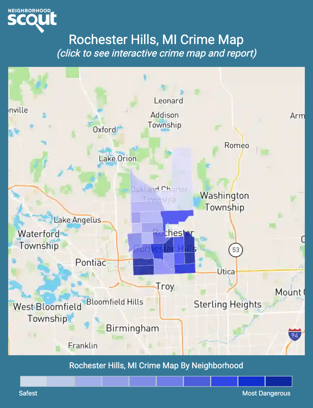 Rochester Hills, Michigan crime map