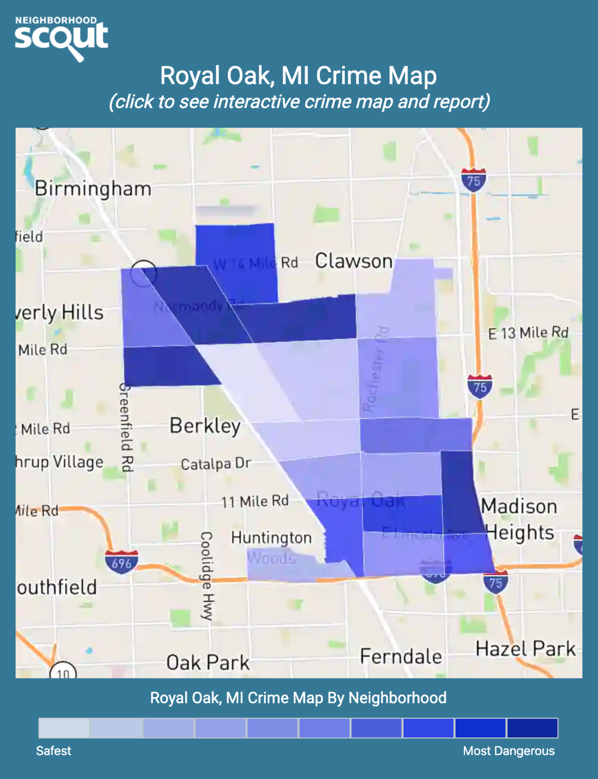 Royal Oak, Michigan crime map