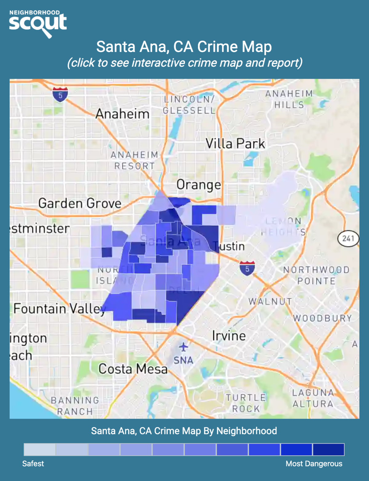 Santa Ana, California crime map