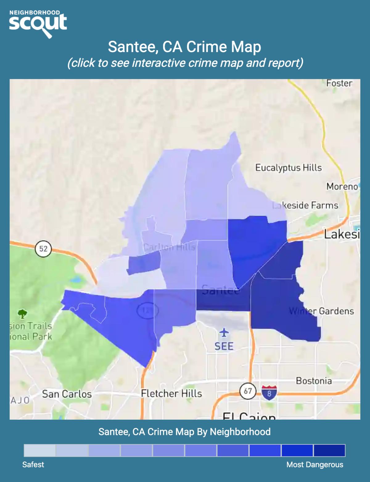 Santee, California crime map
