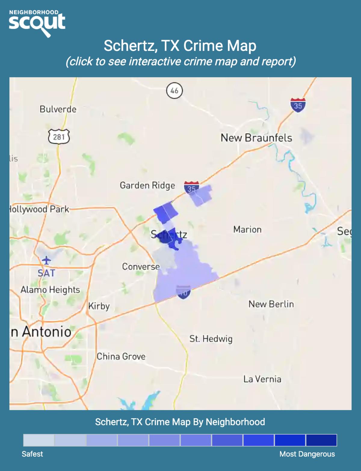 Schertz, Texas crime map