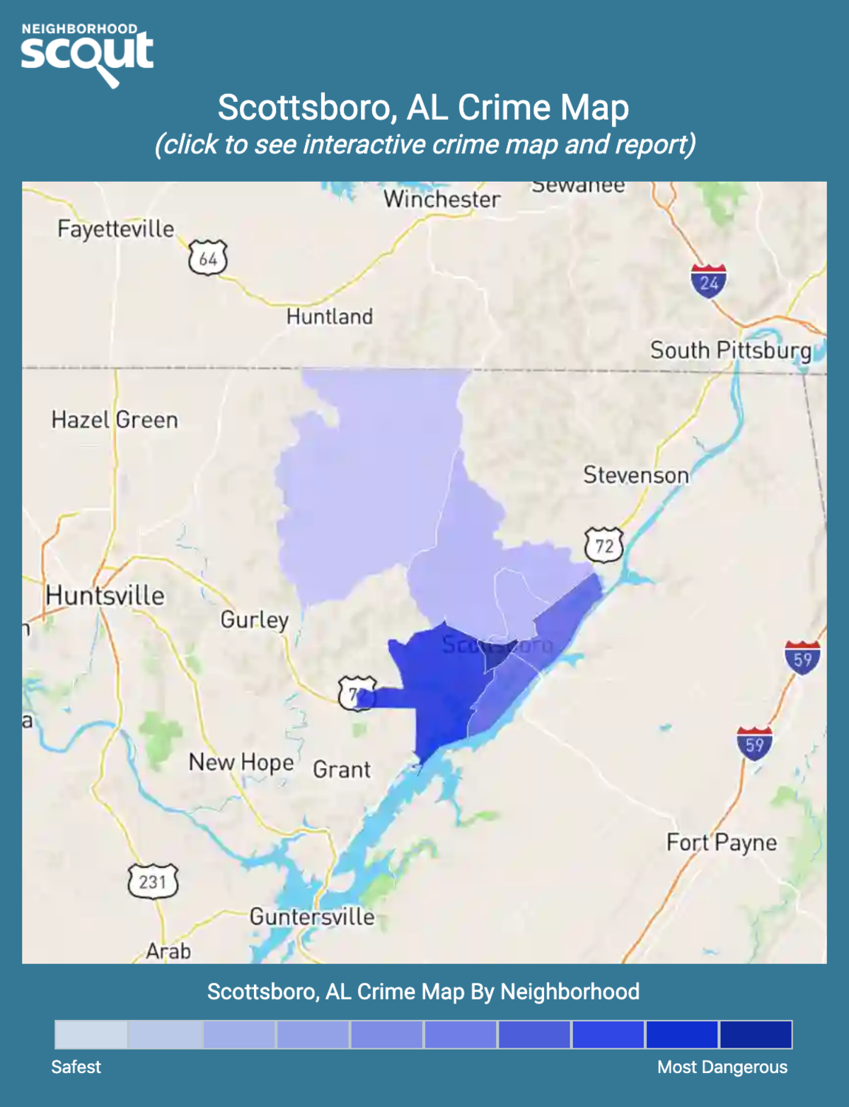 Scottsboro, Alabama crime map