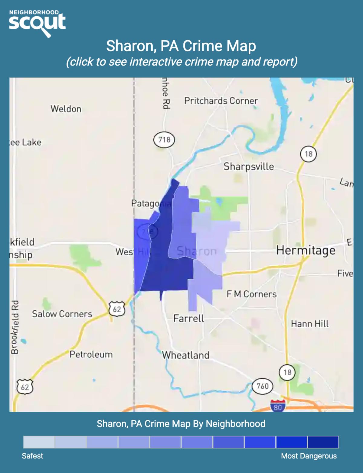 Sharon, Pennsylvania crime map