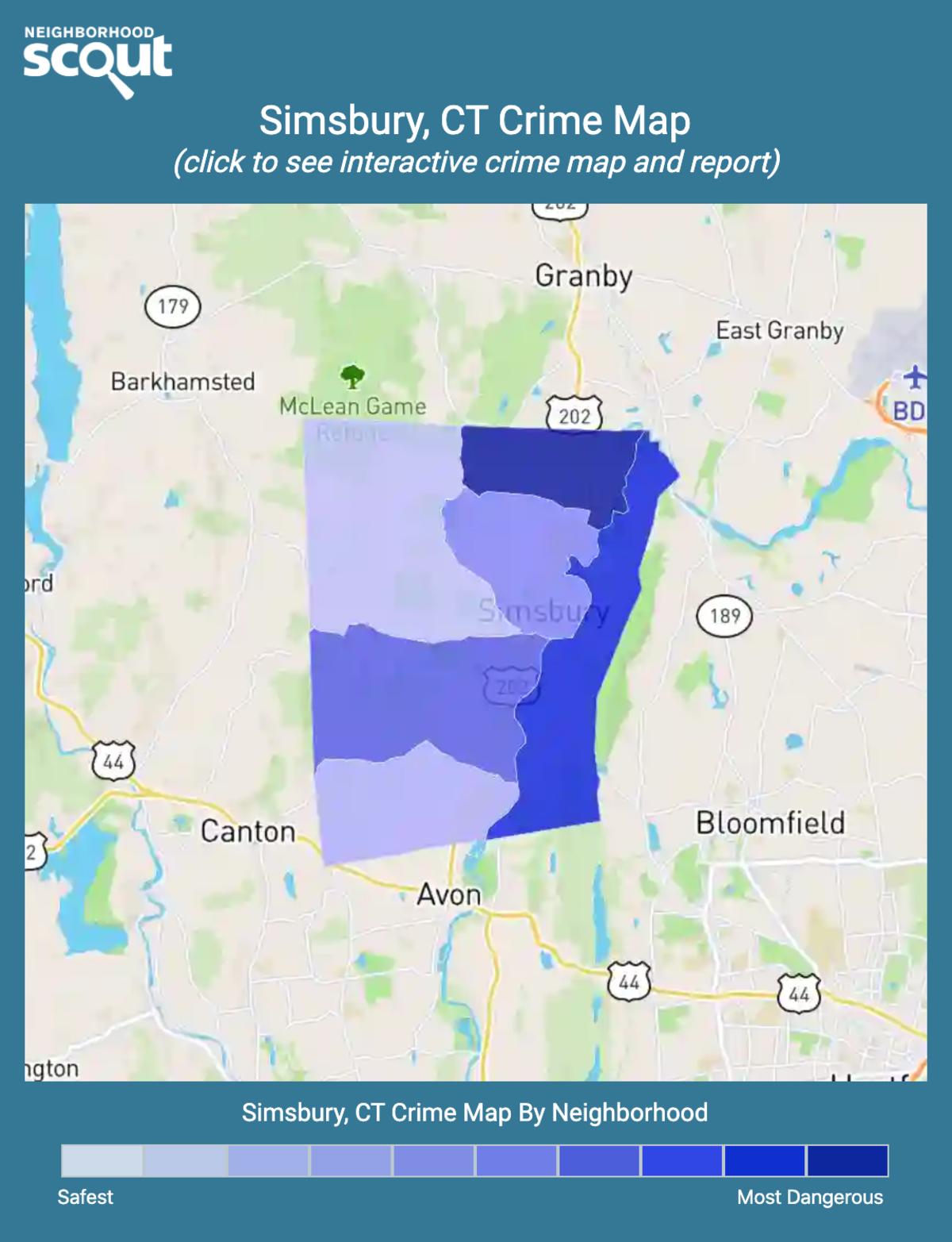 Simsbury, Connecticut crime map