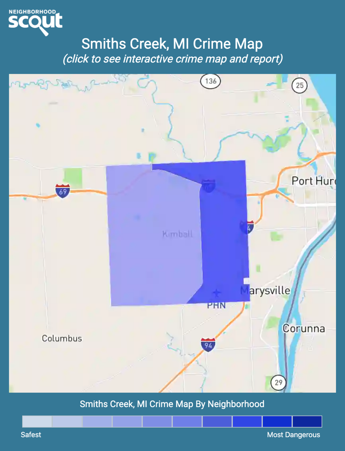 Smiths Creek, Michigan crime map