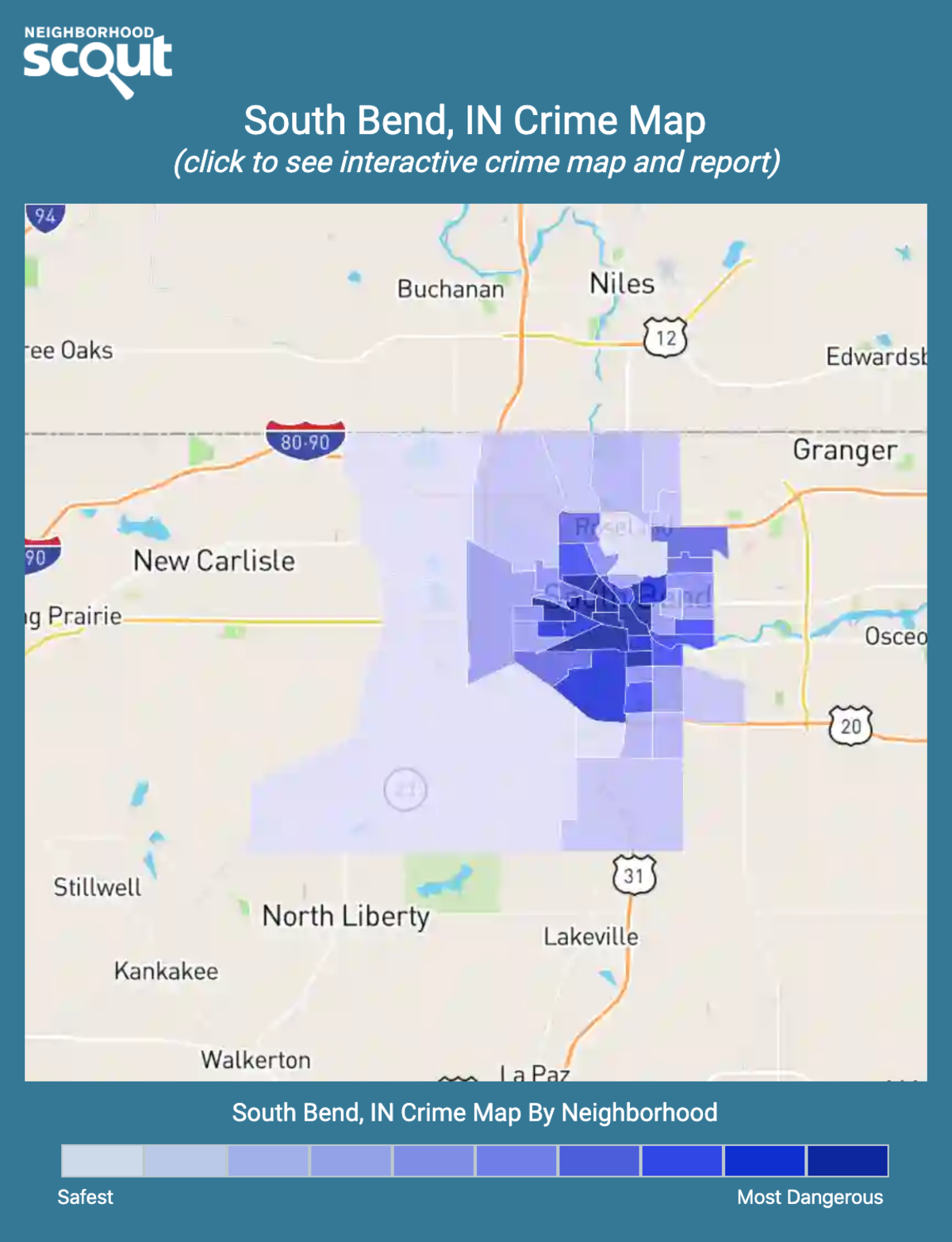 South Bend, Indiana crime map