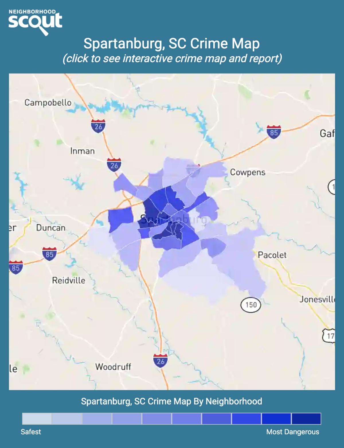 Spartanburg, South Carolina crime map