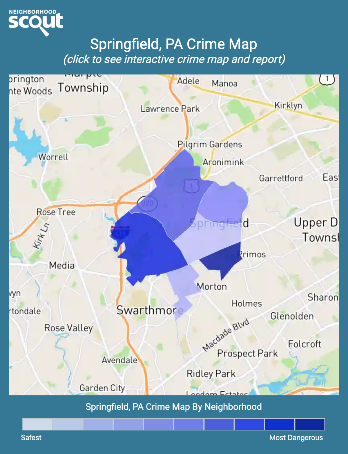 Springfield, PA Crime Rates and Statistics - NeighborhoodScout on map of flourtown pa, map of washington crown center pa, map of eastern montgomery county pa, map of haverford pa, map of delaware county pa, map of radnor pa downingtown, map of chester pa, map of millbourne pa, map of media pa, map of swarthmore pa, map of upper darby pa,