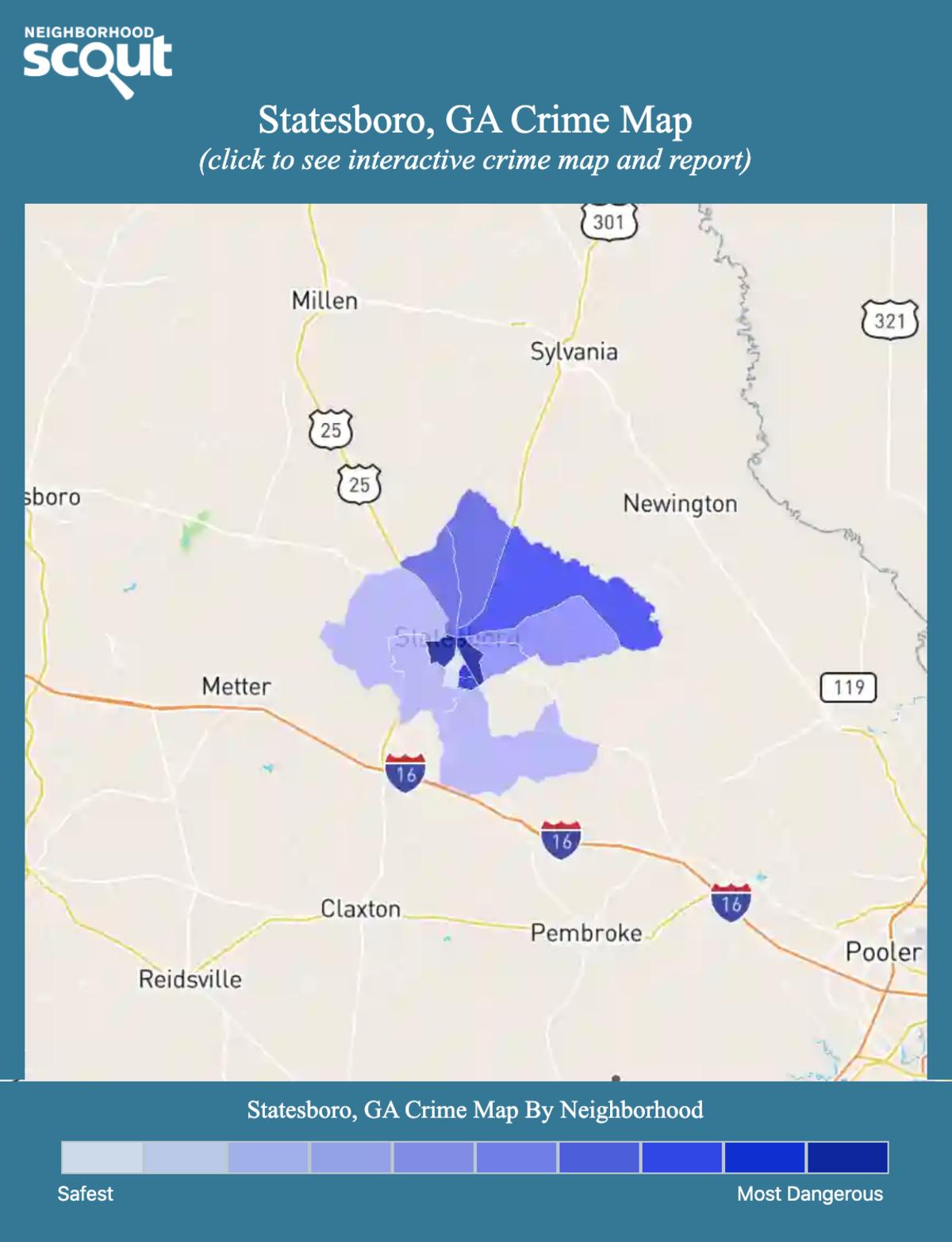 Statesboro, Georgia crime map