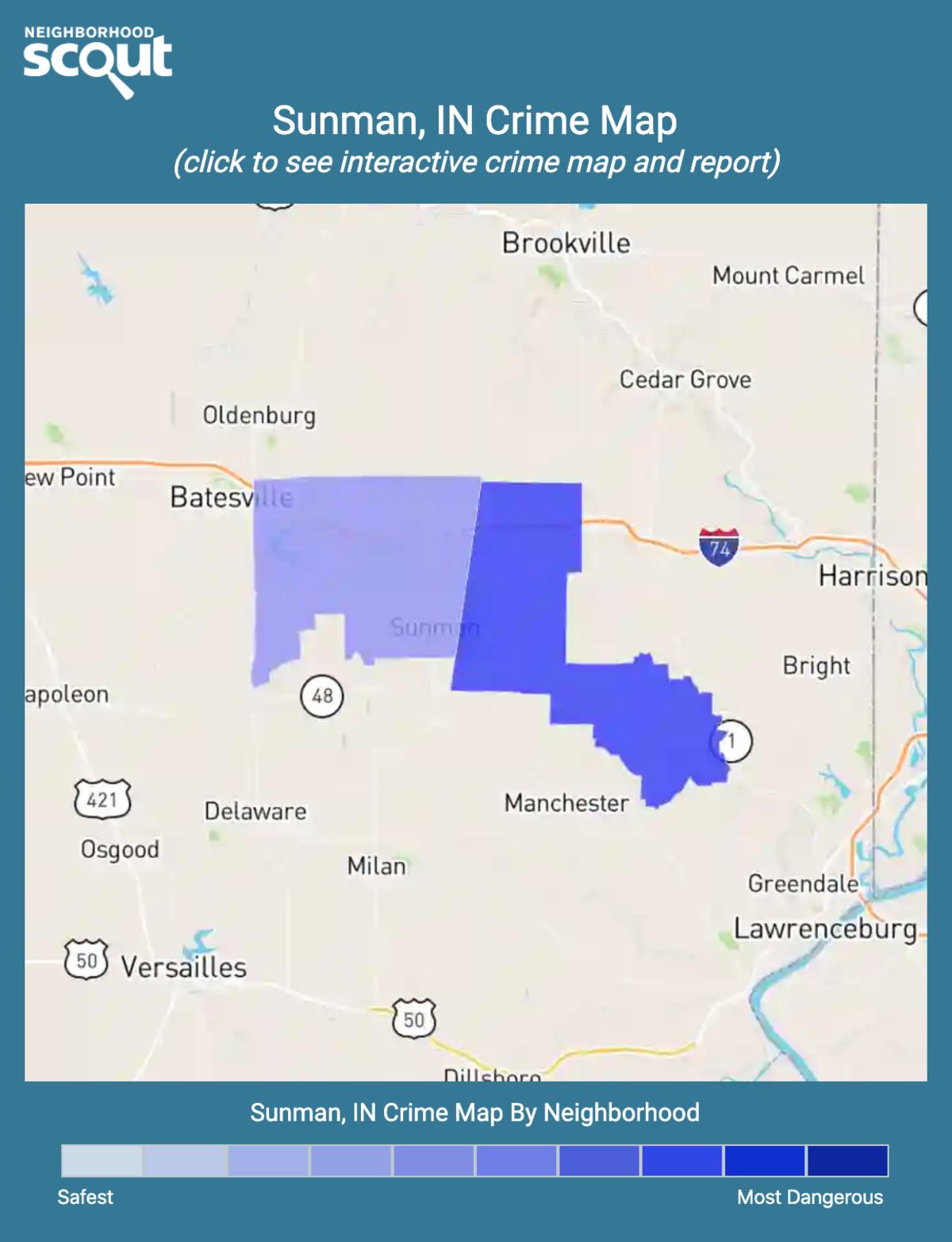 Sunman, Indiana crime map