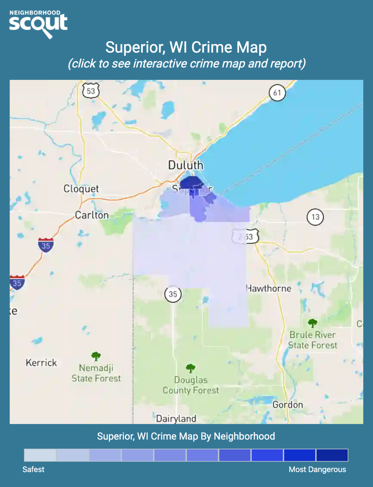 Superior, Wisconsin crime map