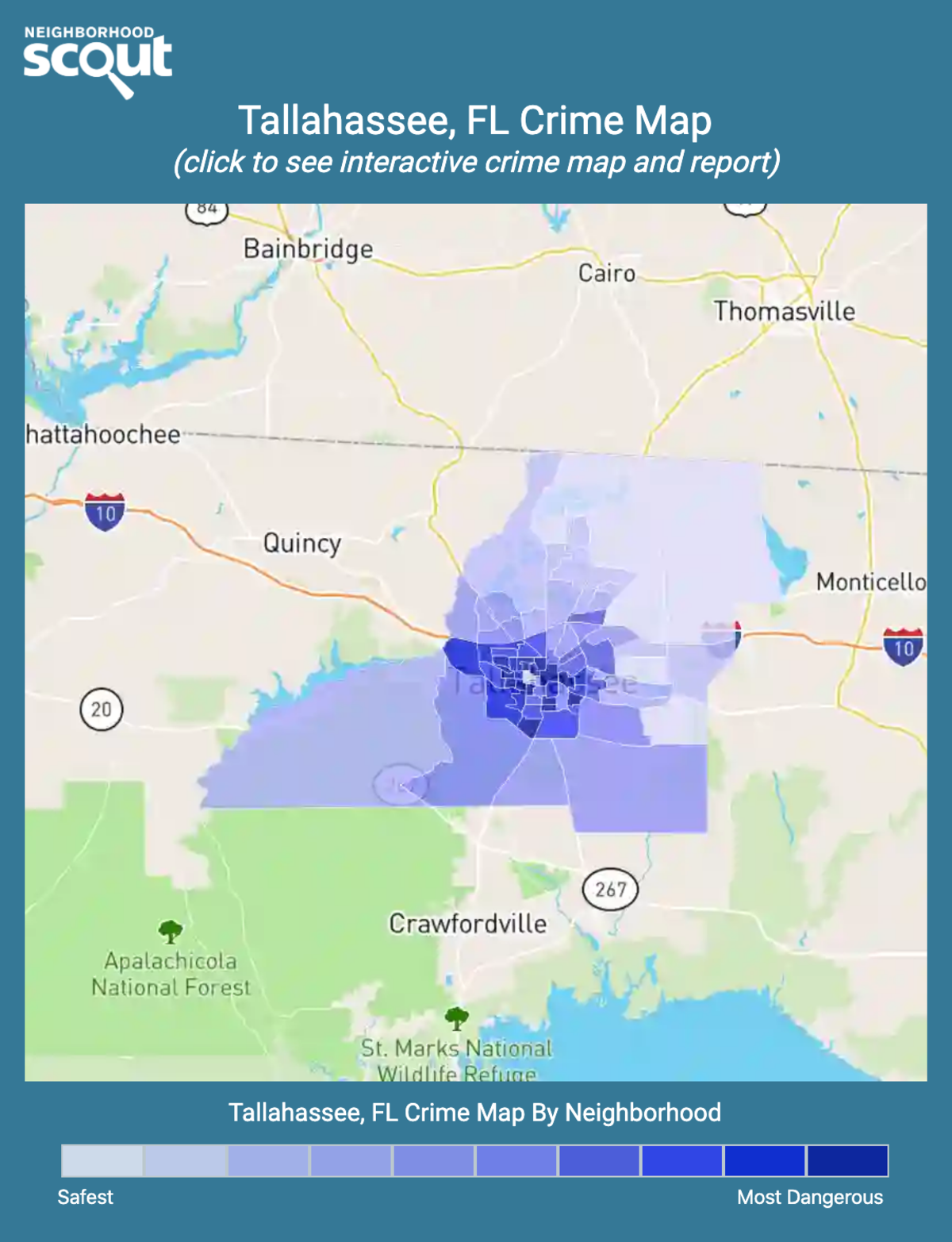 Tallahassee, Florida crime map