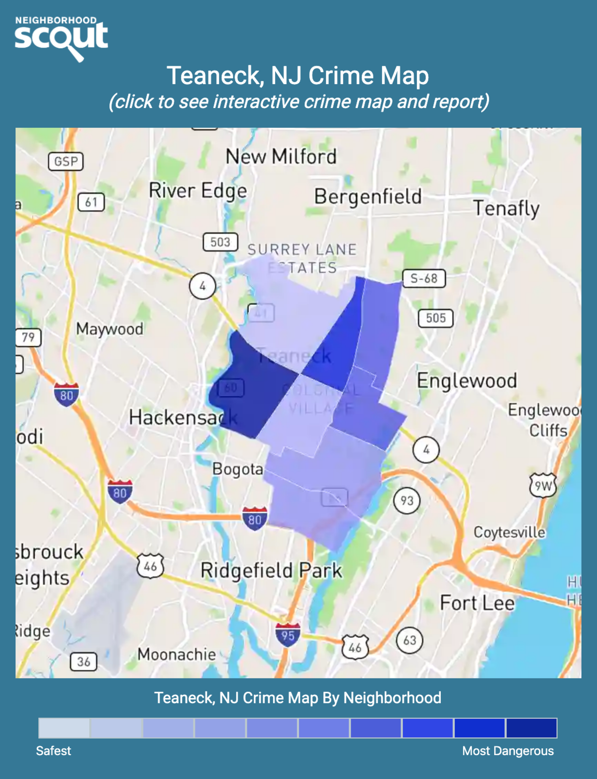 Teaneck, New Jersey crime map