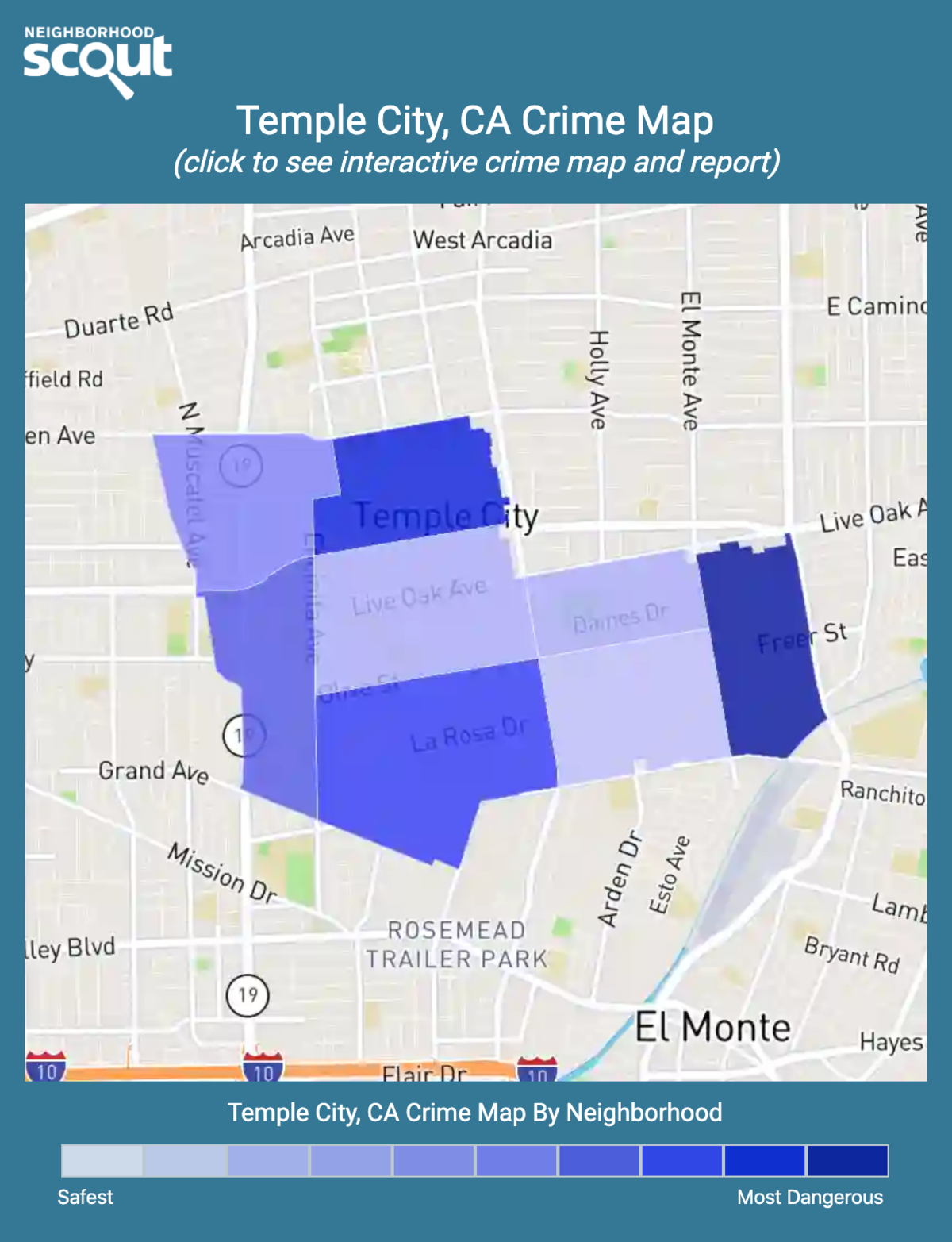 Temple City, California crime map