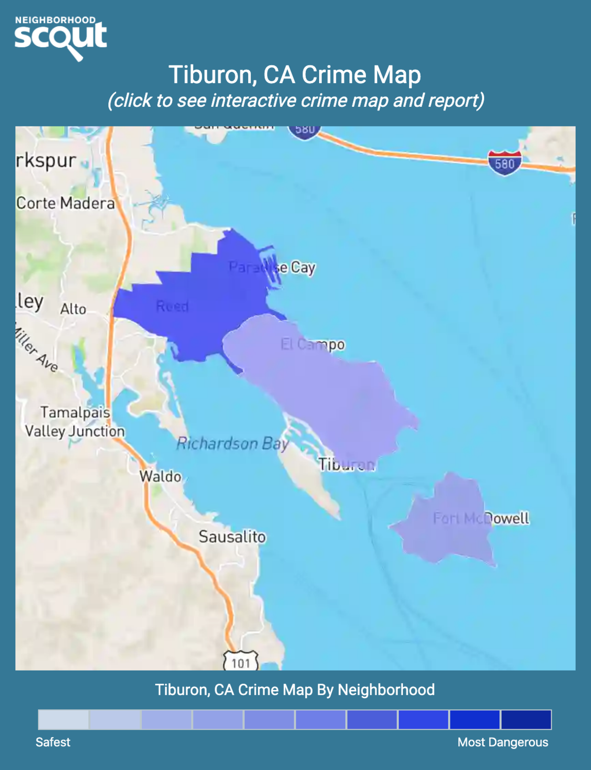 Tiburon, California crime map