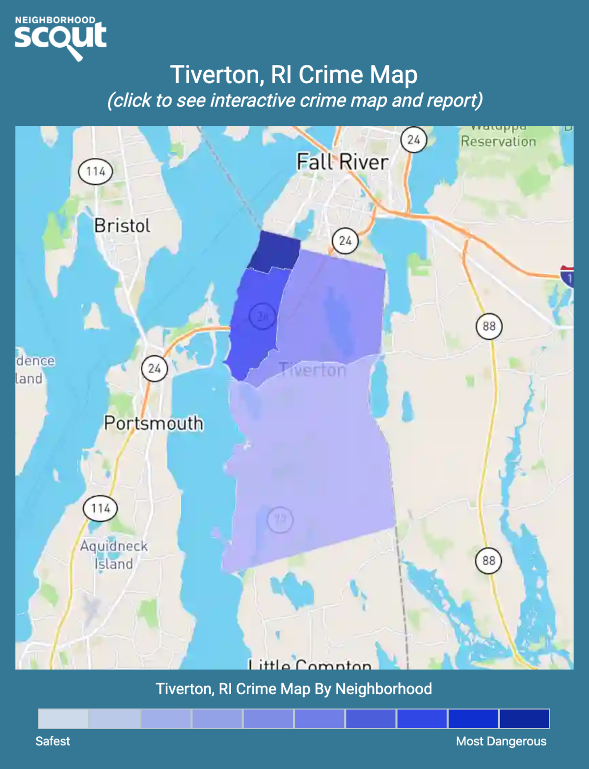 Tiverton, Rhode Island crime map