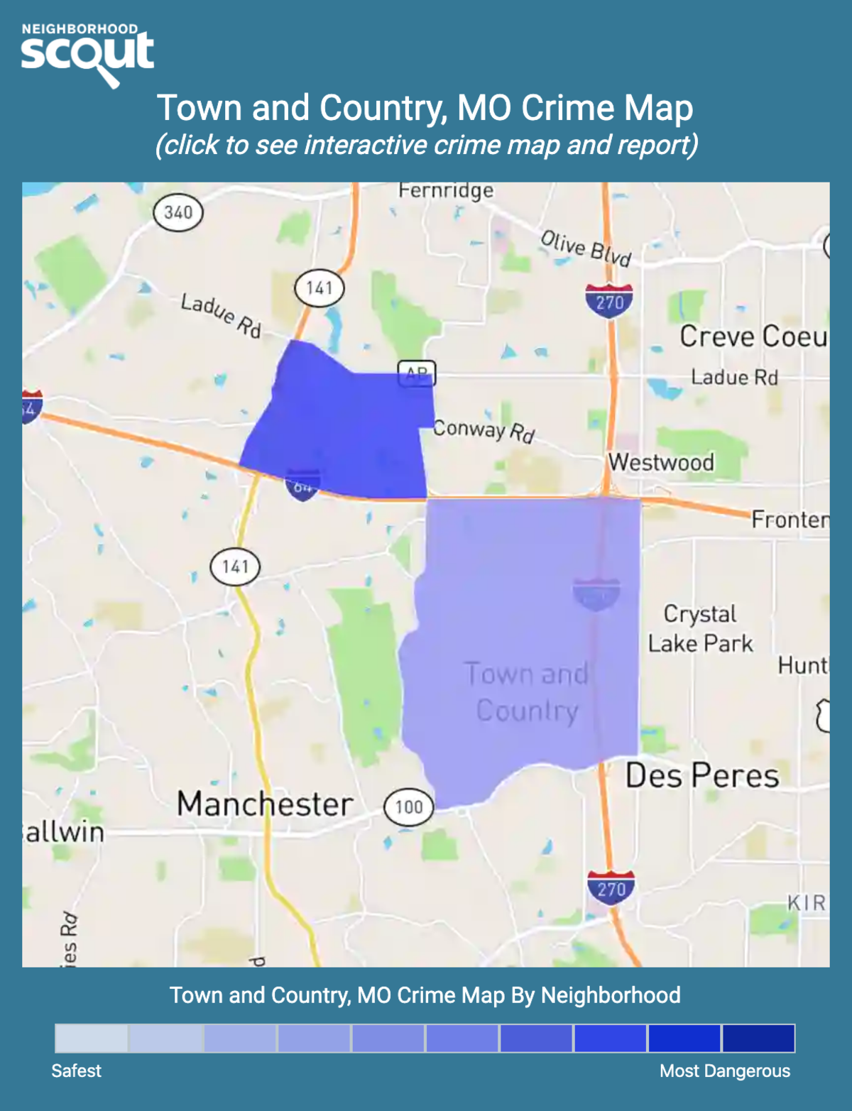 Town and Country, Missouri crime map
