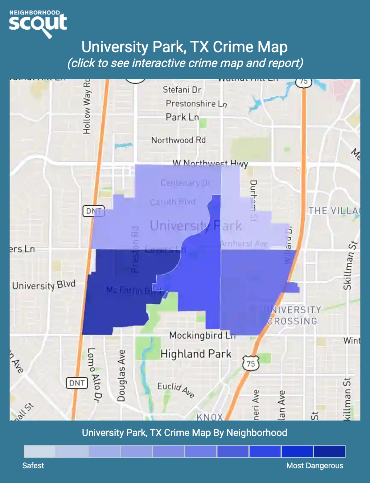 University Park, Texas crime map