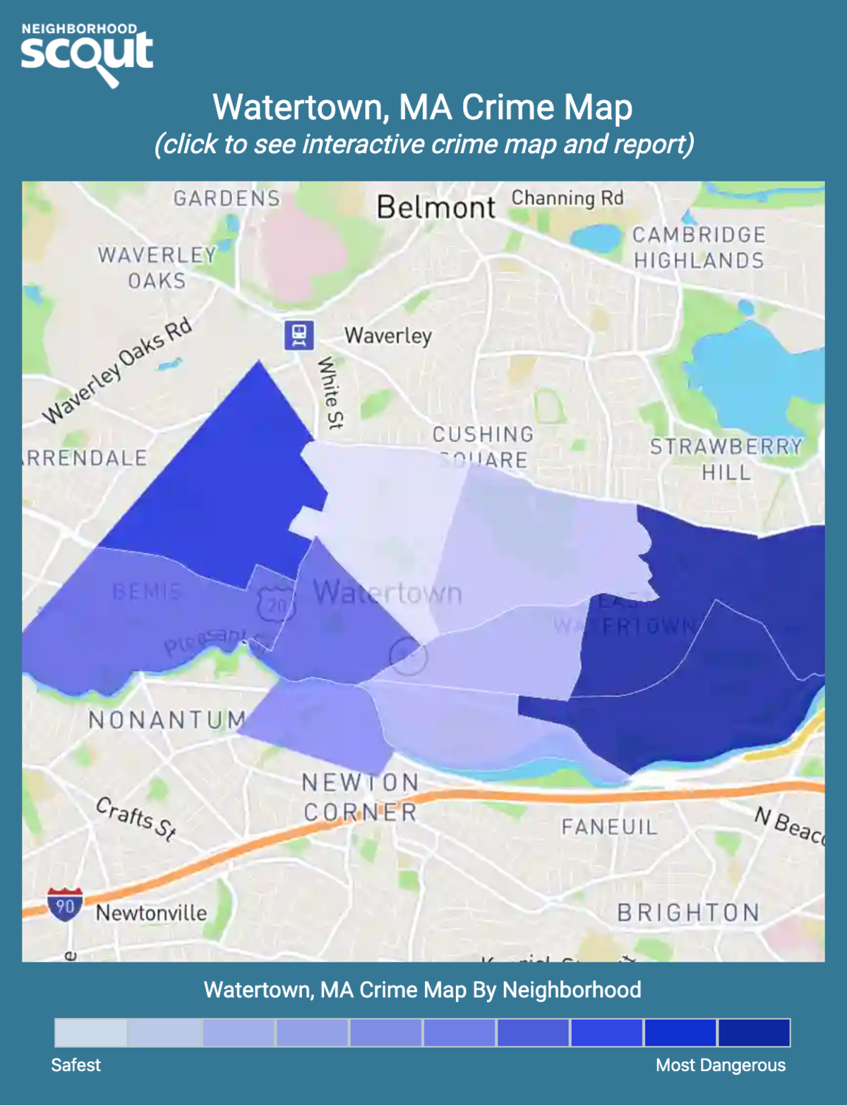 Watertown, Massachusetts crime map