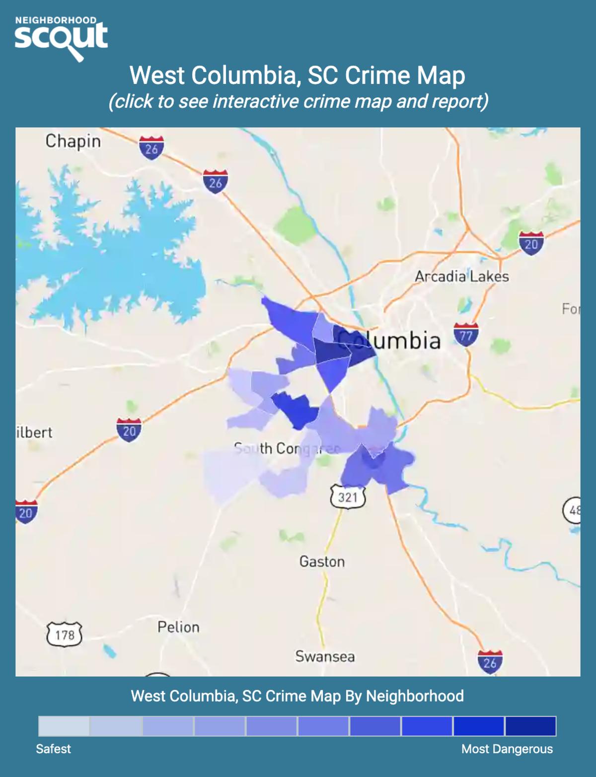 West Columbia, South Carolina crime map