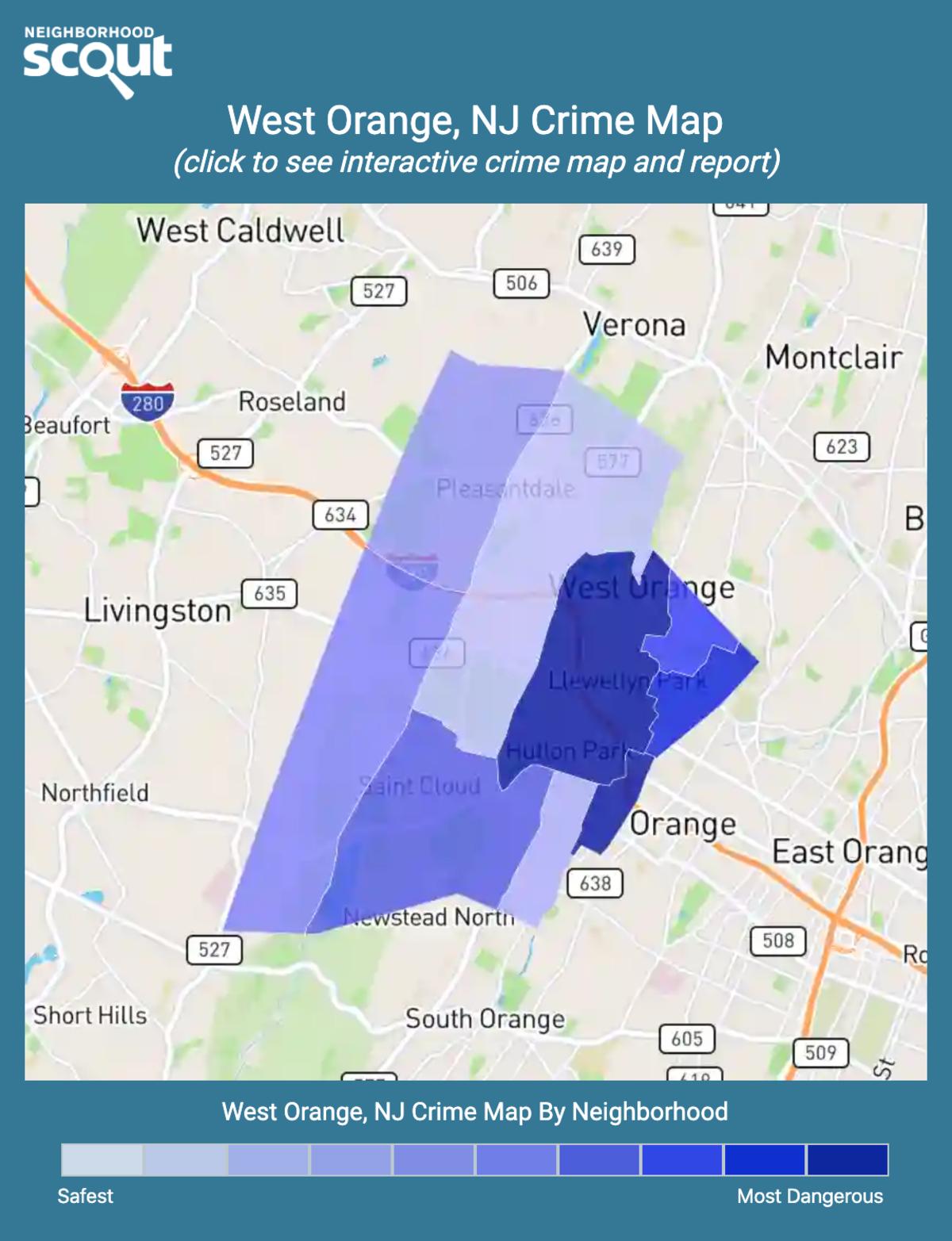 West Orange, New Jersey crime map
