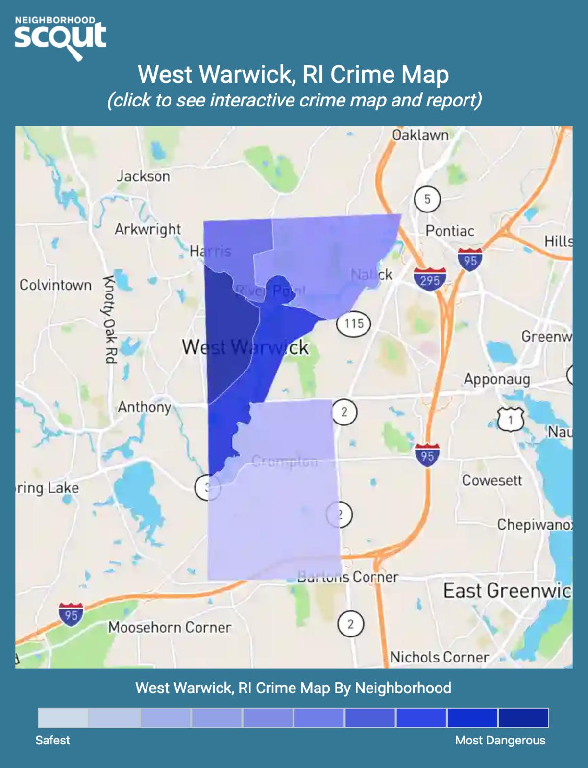 West Warwick, Rhode Island crime map