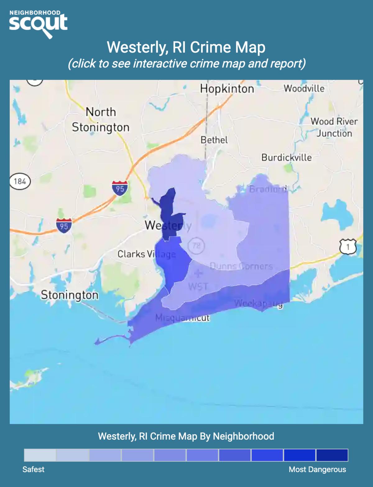 Westerly, Rhode Island crime map