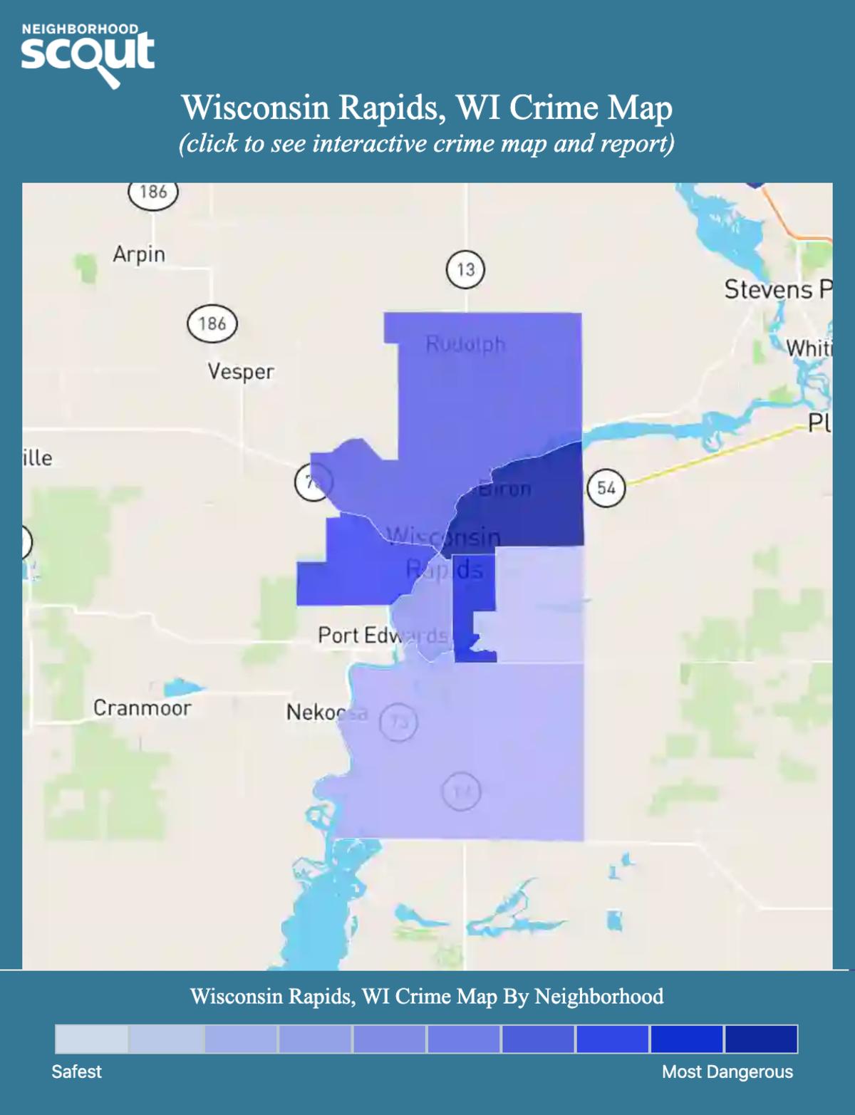 Wisconsin Rapids, Wisconsin crime map