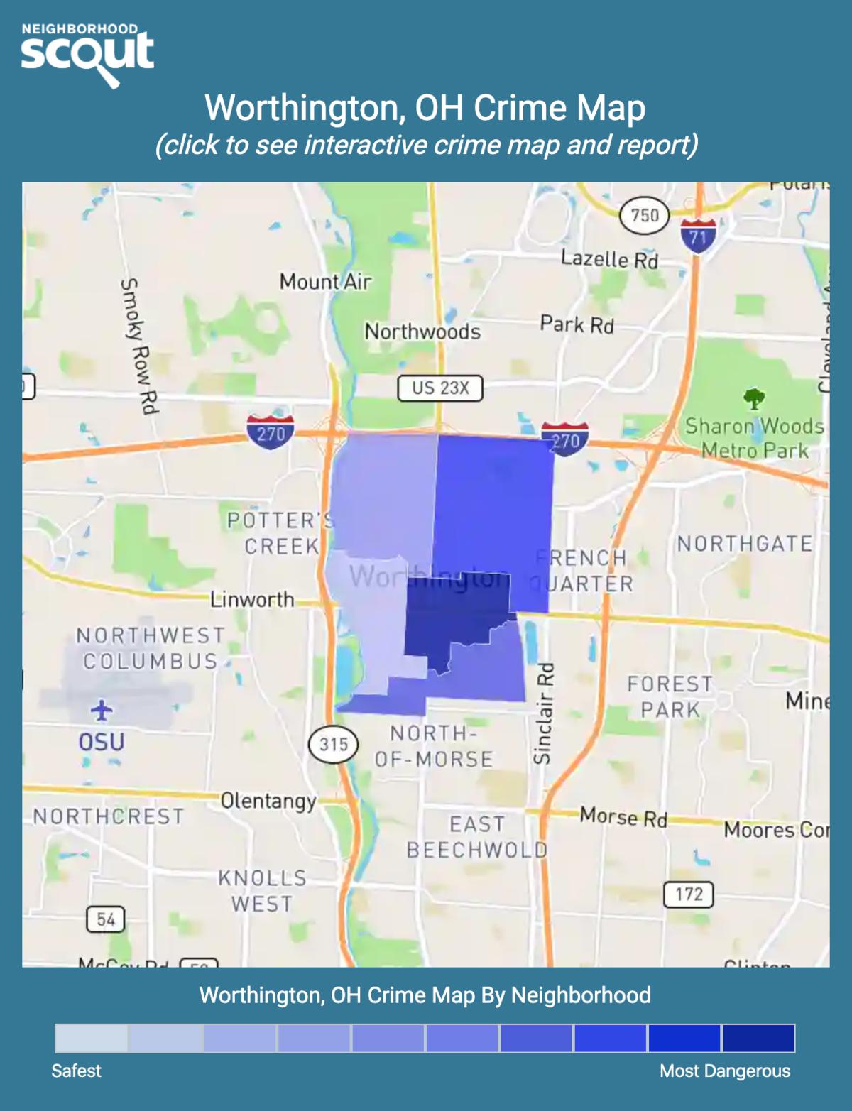 Worthington, Ohio crime map