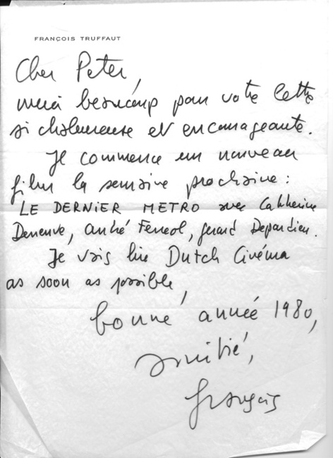 Truffaut Letter to Peter Cowie