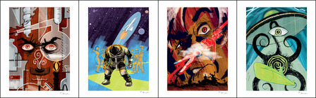 Monsters and Madmen Art Prints (set of 4)
