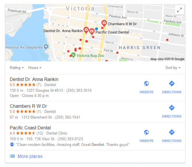 Photo showing the local pack of a google search result.