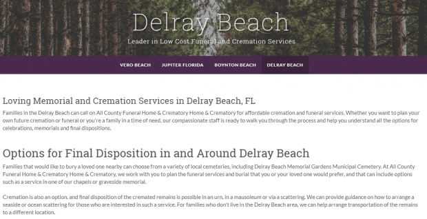All County Funerals' Delray Beach Page