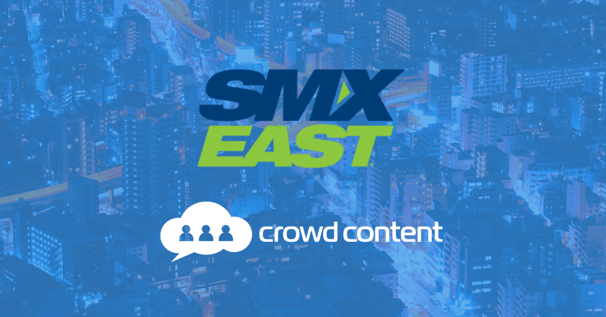 Photo showing Crowd Content and SMX East logos overlaid on a city photo