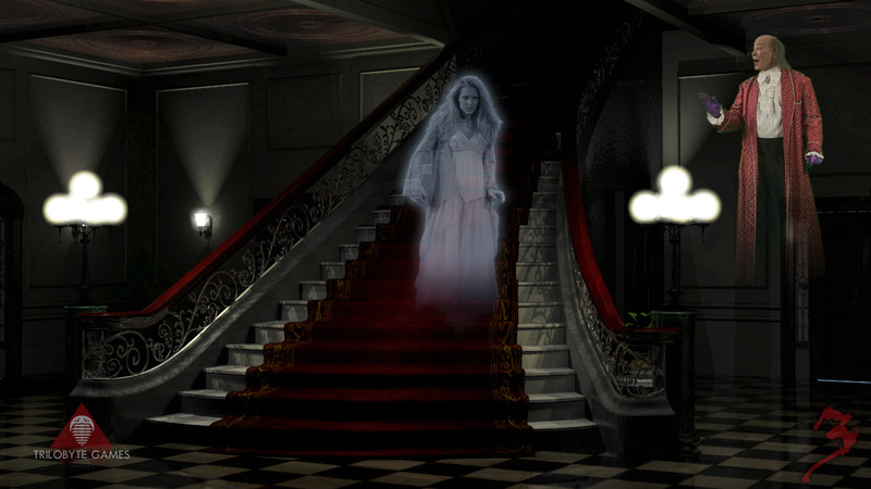 The Lady in White descending the staircase