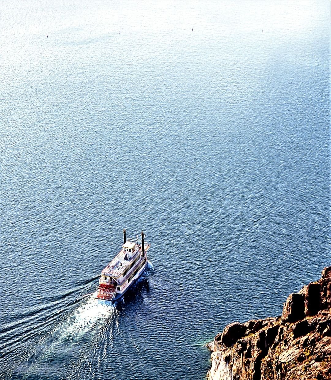 Throw off the bowlines.  Sail away from the safe harbor.  Catch the trade winds in your sails.  #lakemead #desertprincess #lakemeadcruises #findyourpark #boating #sightseeingcruise #travelnevada #paddlewheeler #onthewater #boat #quotes #aerialview #southernnevada