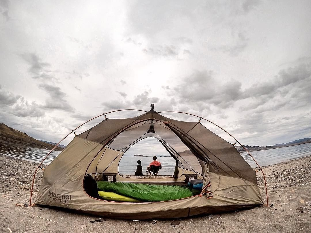 Camp along side the water at Pyramid Lake this summer. Some campsites even offer amenities such as full hookups and hot showers. ••• #DFMI 📷 by @christopher.burns71 . . . . . . . . . . . . #TravelNevada #PyramidLake #Camping #CampingGoals #MansBestFriend #AdventureCulture #NV #Nevada #NVAdventure #DiscoverNV